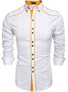Men Dress Shirts- Cotton Turn Down Collar Contrast Color Slim Fit Fashion Tops - White - Slim Fit Casual Shirts, Slim Fit Dress Shirts, Stylish Shirts, Mens Designer Shirts, Designer Suits For Men, Camisa Tribal, Suit Fashion, Fashion Shirts, Fashion Clothes