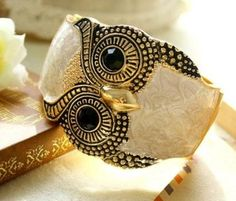 Egood Vintage 1.97 inches Width Wide Owl Woman Cuff Wristband Bangle Bracelets -white color: Beauty