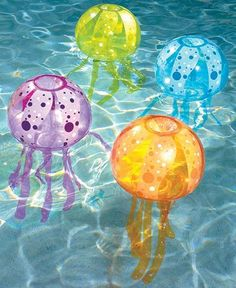"Inflatable Jellyfish Pool Light LED 15"" x 32"" Bubble Lights"