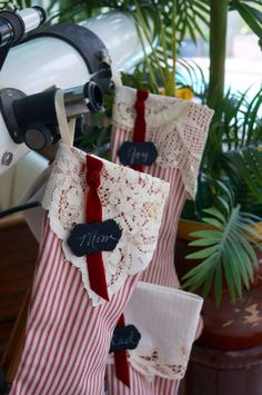 Christmas stocking, red cotton ticking  stocking, vintage linen cuff, personalized by NanLouise on Etsy https://www.etsy.com/listing/242495787/christmas-stocking-red-cotton-ticking