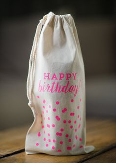 ***ON SALE*** Originally $13.00 now $9.00.  13.5x6 canvas wine bag with drawstring enclosure. A great way to make a bottle of wine or alcohol