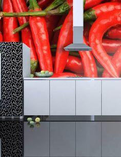 Carta da Parati Peperoncini Rossi Carta da Parati Fotomurale per la Cucina