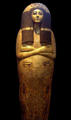 Gilded outer coffin of Henutmehyt, Thebes, Dynasty XIX British Museum. Ancient Egyptian Artifacts, Ancient Egyptian Religion, Egyptian Symbols, Ancient History, Egyptian Mythology, Egyptian Goddess, European History, Ancient Aliens, American History