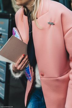 Pfw Paris Fashion Week Fall 2016 Street Style Collage Vintage Pink Coat