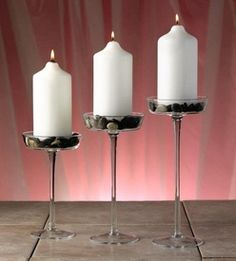 Mouth Blown Crystal Pillar Candle Holders, Set of 3