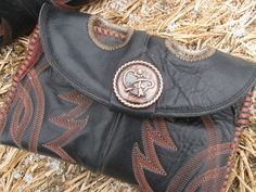 Black Cowboy Boot Clutch W/ Roping Cowgirl by BootScootinBoutique, $45.00