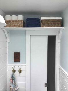 Ideas Diy Bathroom Shelves Above Toilet Door Storage For 2019 Beach House Bathroom, Bathroom Doors, Bathroom Layout, Bathroom Interior, Modern Bathroom, Bathroom Ideas, Bathroom Remodeling, Bathroom Cabinets, Shower Ideas