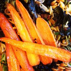 Debbie Adler's #Plantpowered Roasted Maple Glazed Carrots on top of Kamut Spirals in Garlic Oil, with Sauteed Mushrooms and Krispy Kale. #vegan #agedefying
