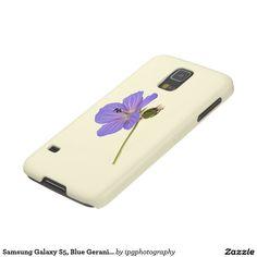 Samsung Galaxy S5, Blue Geranium, Cream Background Case For Galaxy S5