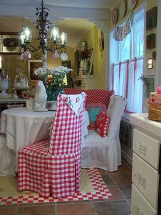 love this red kitchen at Cherry Hill Cottage Blog