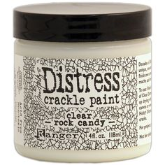 The Distress Clear Rock Candy Crackle Paint by Tim Holtz for Ranger Ink is so versatile that it is hard to limit its usefulness. Try using this paint on Candy For Sale, Paper Mache Projects, Art Projects, Paper Crafts, Tim Holtz Stamps, Crackle Painting, Rock Painting, Ranger Ink, Paint Drying