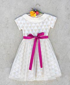 White Triangles Nellie Dress - Toddler & Girls | zulily