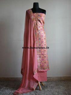 Banarasee/Banarasi Salwar Kameez Semi Silk Resham & Zari Jaal Work Fabric-Blush