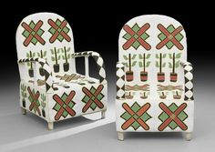 Africa | Beaded armchairs from the Yoruba people of Nigeria.
