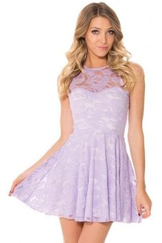 #Purple #Lace Cut Out #Sleeveless #Cute #Womens #Skate #Dress