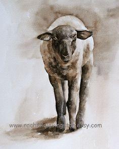 Pared de colgante de pared de país francés país décor casero ovejas acuarelas arte Sheep 5 x 7 ovejas impresión pintura marrón niñas niños chicos vivero francés