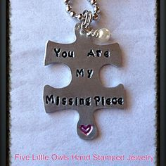 READY TO SHIP-Hand Stamped Puzzle Piece