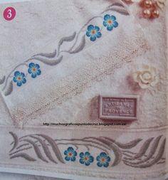 Cross stitch *<3* Point de croix Cenefa flores azules