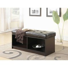 Indoor Storage Cubby Ottoman Espresso Two Spaces with Cushions Bench, Seating  #IndoorFurniture