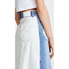 SJYP Front Long Denim Skirt ($360) ❤ liked on Polyvore featuring skirts, denim blue, button skirt, button-front denim skirts, long denim skirt, midi skirt and denim midi skirt