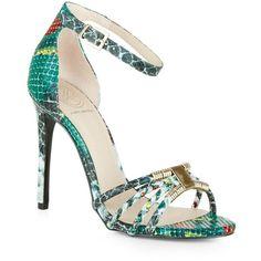 KG Kurt Geiger Snake-Effect Havana Sandals ($91) ❤ liked on Polyvore featuring shoes, sandals, kg kurt geiger, snake sandals, party shoes, snake shoes and kg kurt geiger shoes