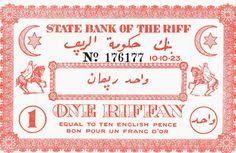 """Ces billets unifaces de 1 et 5 """"Riffans"""" fabriqués en Angleterre, ont eu pendant un certain temps cours légal dans les territoires du Rif contrôlés par la résistance"""
