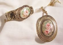 October sale many items reduced from 20 to 60% off Visit my Ruby Plaza Shop Link on home page Outstanding Victorian style transfer roses repousse Bracelet and Large Locket Set