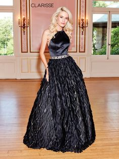 5040 - Black ball gown with a faux feather like bottom and beaded belt