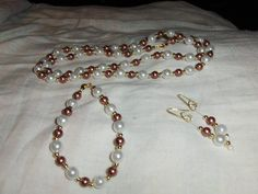 """""""Light Brown On 8mm White"""" 3 piece set --- $5.00 + $3.00 shipping in the USA"""