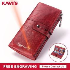 """KAVIS Leather Wallet with Free Engraving  Price: 45.00 & FREE Shipping """"Fashion is Self-Expression: It's not the brand that makes you, but its how you brand yourself in whatever you wear"""" by Cadilyn Trends. We share our business motto with you. Visit our store and check out our collections. #clothingandaccessories Wallets For Women, Motto, Brand You, Leather Wallet, Coin Purse, Fashion Accessories, Card Holder, Collections, Trends"""