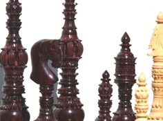 The Towers Chess Set: Closeup view to show the detailed carving in each chess piece.