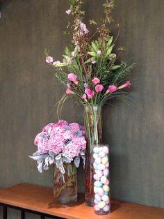 Hydrangea, Cherry Branches, Pink Calla, Dusty Miller