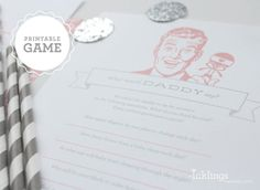 """Printable """"What Would Daddy Say?"""" Baby Shower Game Sheet // Choose your color on Etsy, $8.00"""