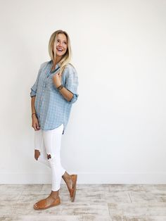 Checked Denim Top, white jeans
