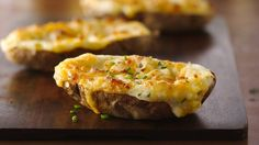 Twice-baked potatoes are potatoes you can make ahead. They're extra yummy because extras like butter and cheese are mixed in.