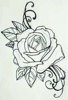 Beautiful antique rose outline. Perfect for a tattoo.