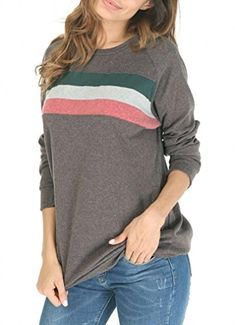 9226276627109 Shes Style Womens Cotton Knitted Long Sleeve Round Neck Loose Casual  Lightweight Tunic Sweatshirt Tops