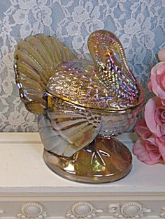 Vintage LE Smith Glass Carnival Glass Turkey Cranberry Candy Dish