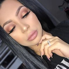 """WEBSTA @ evettexo - Today's face.Face: """"Natural beige""""- @toofaced foundation. Studio finish concealer """"NW 20"""" Mascara: Lights Camera action- @tartecosmetics Eyebrows: Brow palette by @morphebrushes, Great lash clear mascara to hold hairs in place.Eyes: @anastasiabeverlyhills single shadows Liner- Jumbo eye pencil in Milk @nyxcosmetics Chocolate Soleil Bronzer- @toofaced Highlight- Soft and Gentle by @maccosmetics Lips: Snuggle- @lagirlcosmetics Lashes: Thickness- @depmakeup"""