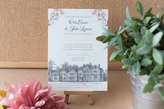 Romantic pink, black and white wedding invitations Black And White Wedding Invitations, Unique Wedding Invitations, Wedding Stationery, Invites, Pink Black, Unique Weddings, Rsvp, Brides, Wedding Inspiration