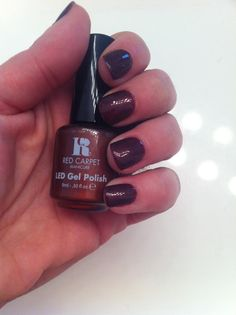 """Therese Carpet Manicure I Love Red Carpet Manicure! """"Haute Couture"""" is a gorgeous shade. Manicure Colors, Gel Polish Colors, Gel Color, Nail Colors, Nail Polish, Colours, Gelish Nails, Shellac, My Nails"""