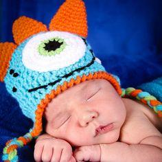 Newborn Crochet Monster Hat  Photo Prop Costume by StitchBuyStitch, $20.00