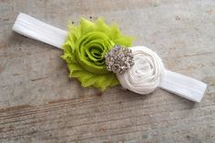 St. Patrick's Day White and Green Chiffon Rosette Flower Headband. $8.50, via Etsy.