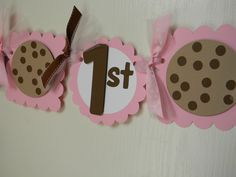 NEW--- Milk and Cookies Birthday Party Happy Birthday Banner in Pink. $30.00, via Etsy.