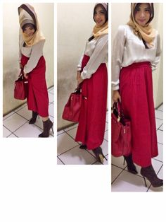 maxi skirt red for hijab fashion and boots rok panjang juga bisa gaya