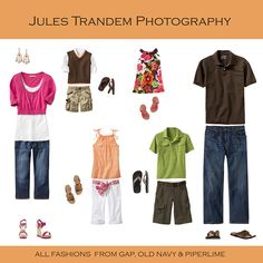 Pinks, oranges and browns.  Photo shoot outfit ideas.