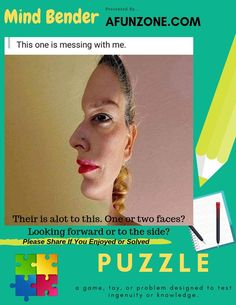 Their is alot to this. One or two #faces? Looking forward or to the side? #Solve Our #MindBender Here: