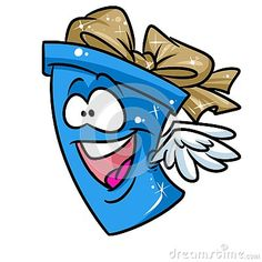 Happiness wings flight gift cartoon illustration isolated image character