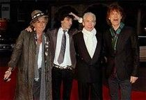 "The Rolling Stones at the London premiere of ""Shine a Light"" on April 2, 2008. Pictured from left to right: Keith Richards, Ronnie Wood, Charlie Watts and Mick Jagger. Photo credit:  WireImage"