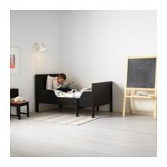 IKEA - SUNDVIK, Ext bed frame with slatted bed base, , Extendable, so it can be pulled out as your child grows. Black Toddler Bed, Ikea Toddler Bed, Toddler Rooms, Kids Rooms, Kids Bedroom, Lego Bedroom, Room Kids, Boy Rooms, Ikea Sundvik
